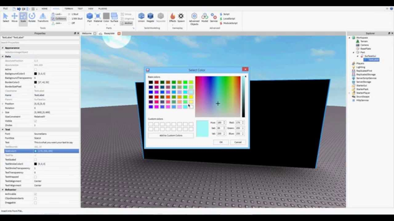 Howto Make A Text Color Change In Guis On Roblox By How To Add Text To A Part Roblox Studio Tutorials Youtube