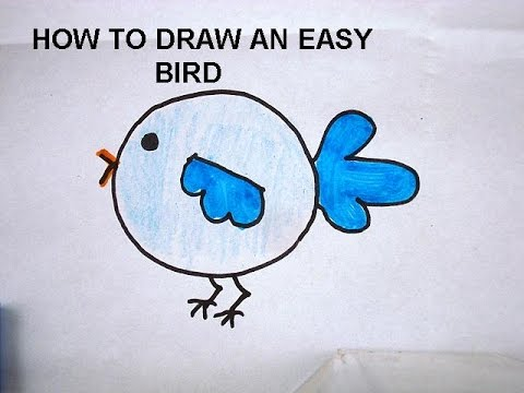 LEARN TO DRAW FOR KIDS, how to draw a bird, Free drawing lessons for children.