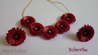 How to make Paper Quilling Necklace - Flower Jewelry Set Design - Tutorial !