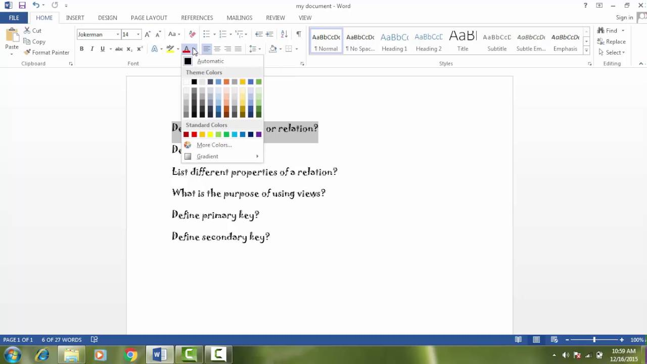 how to change text color in word