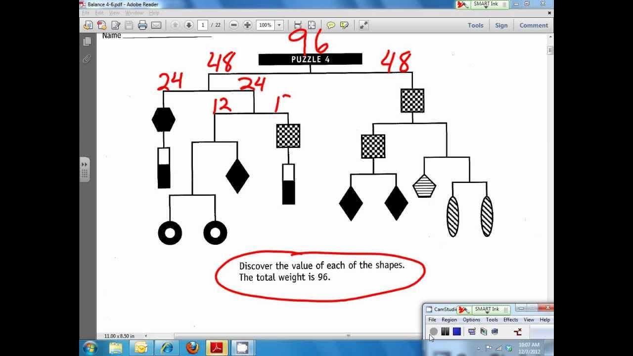 Hanging Balance puzzle solve.   YouTube