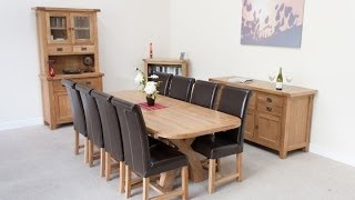 8 Seater Oak Table Brown Leather Chair Dining Set