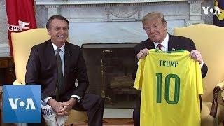 Trump, Bolsonaro Trade Soccer Jerseys During White House Visit