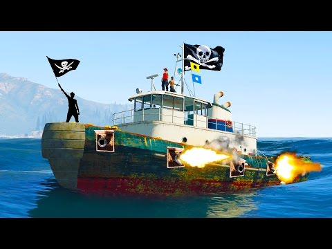 GTA 5 PIRATE LIFE - Protect The BOOTY - AT SEA PIRATE BATTLE (GTA V)