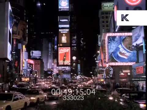 1998 Times Square at Night, New York 1990s, 35mm