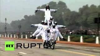 India: Motorcycling daredevils parade on Republic Day in New Delhi
