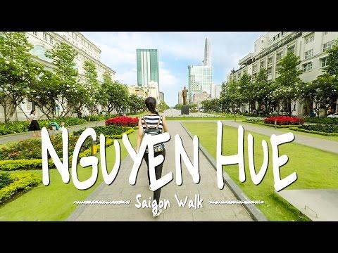 Saigon Walk: Nguyen Hue Str., District 1, Ho Chi Minh City, Vietnam [4K]