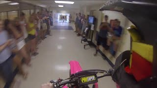 Dirt Bike ride through high school Senior Prank(Instagram @austinc105 First person of the 2014 Knoch high school senior prank. 2011 YZ450F. The reason for me talking is my phone is run through my helmet, ..., 2015-01-29T00:21:30.000Z)