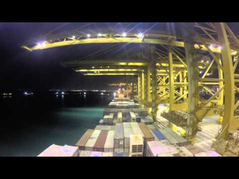 Container ship time-lapse video