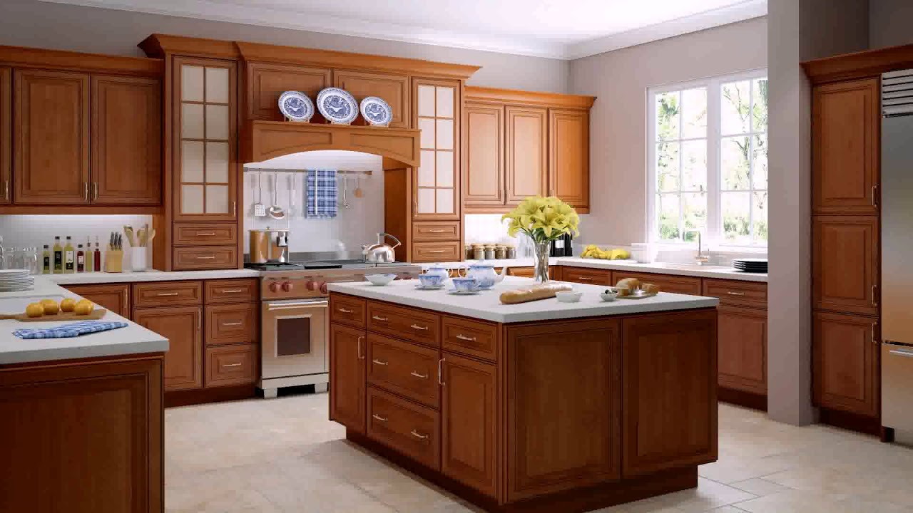 Kitchen with white appliances and oak cabinets youtube for Kitchen remodel keeping oak cabinets