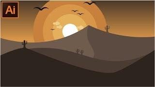 Adobe Illustrator CC Ne kadar Güzel Çöl manzarası bir Gösterim Yapmak için Öğreticiler