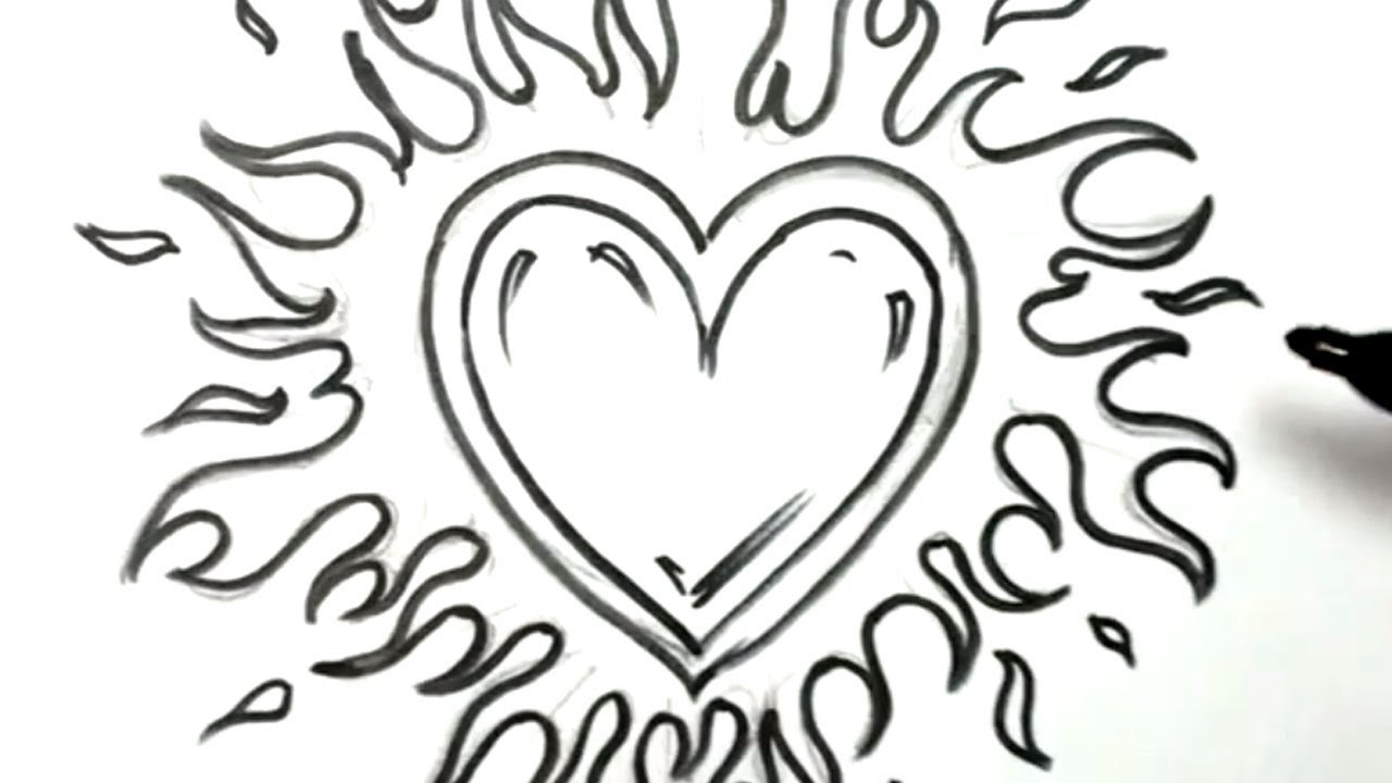 Easy Drawings Of Flowers And Hearts Roses And Heart Drawing