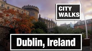 City Walks: Dublin, Ireland in the old town center - virtual walking treadmill video