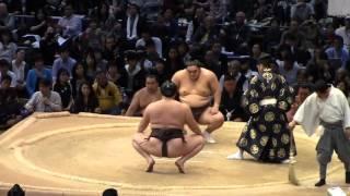 大相撲九州場所7日目、横綱白鵬vs隠岐の海 やぐら投げ.