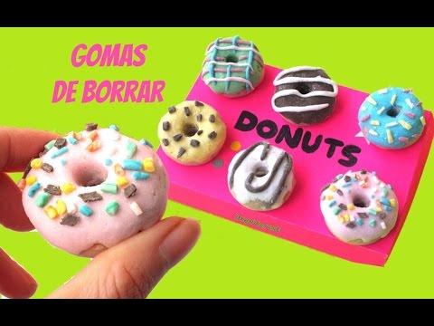 Cómo hacer GOMAS DE BORRAR CASERAS - Donuts o Donas - Vuelta al cole