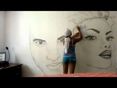 Рисунок на стену в спальне, интерьер и фото