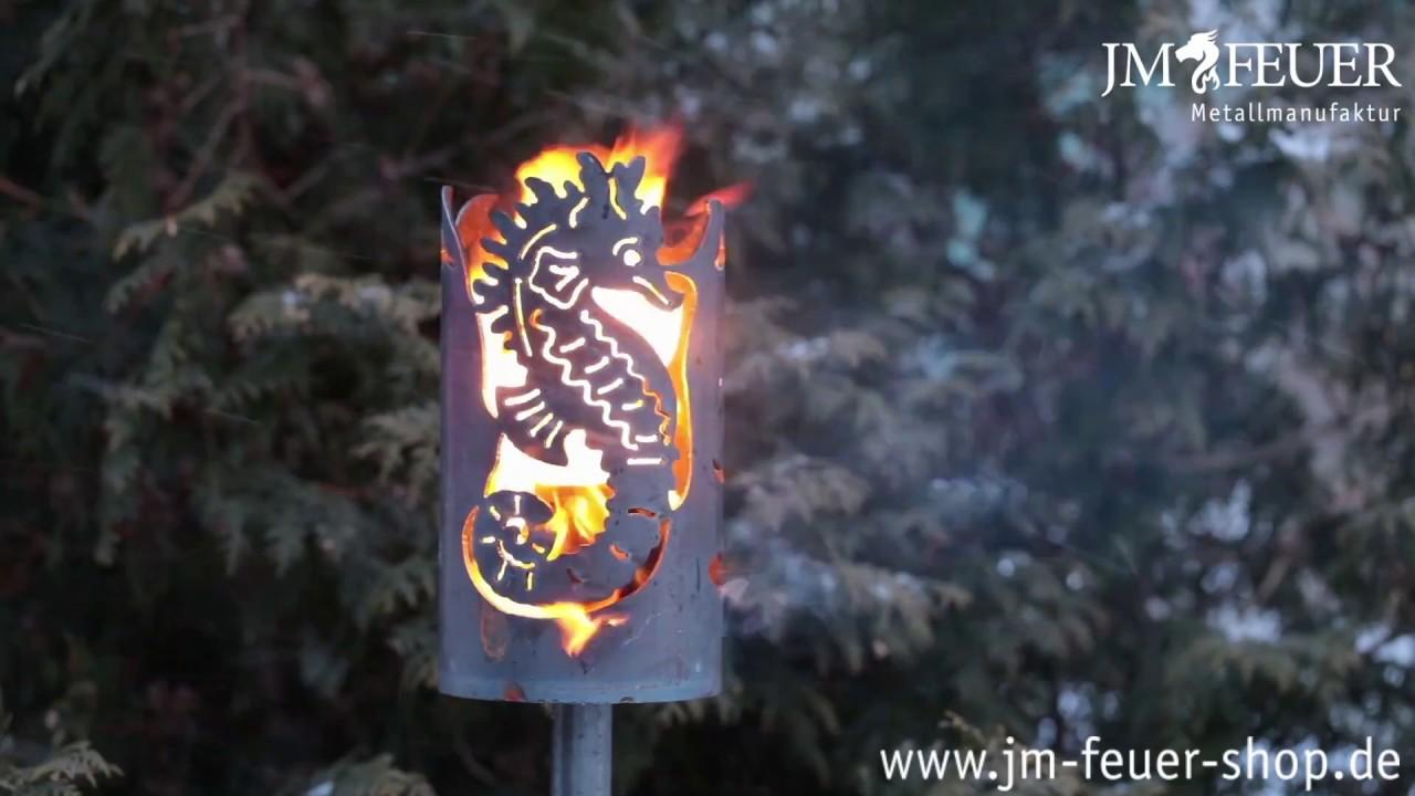 Jm Feuer Shop gartenfackel seepferd aus metall