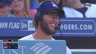 Dodgers players mess with Clayton Kershaw as he discusses his no-hitter