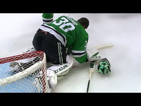 Bishop leaves for repairs after taking a hard shot to the mask