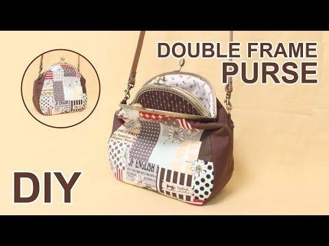 DIY Double clasp frame Purse bag | 더블 프레임 핸드백 | Metal frame clutch bag - Free patterns #sewingtimes