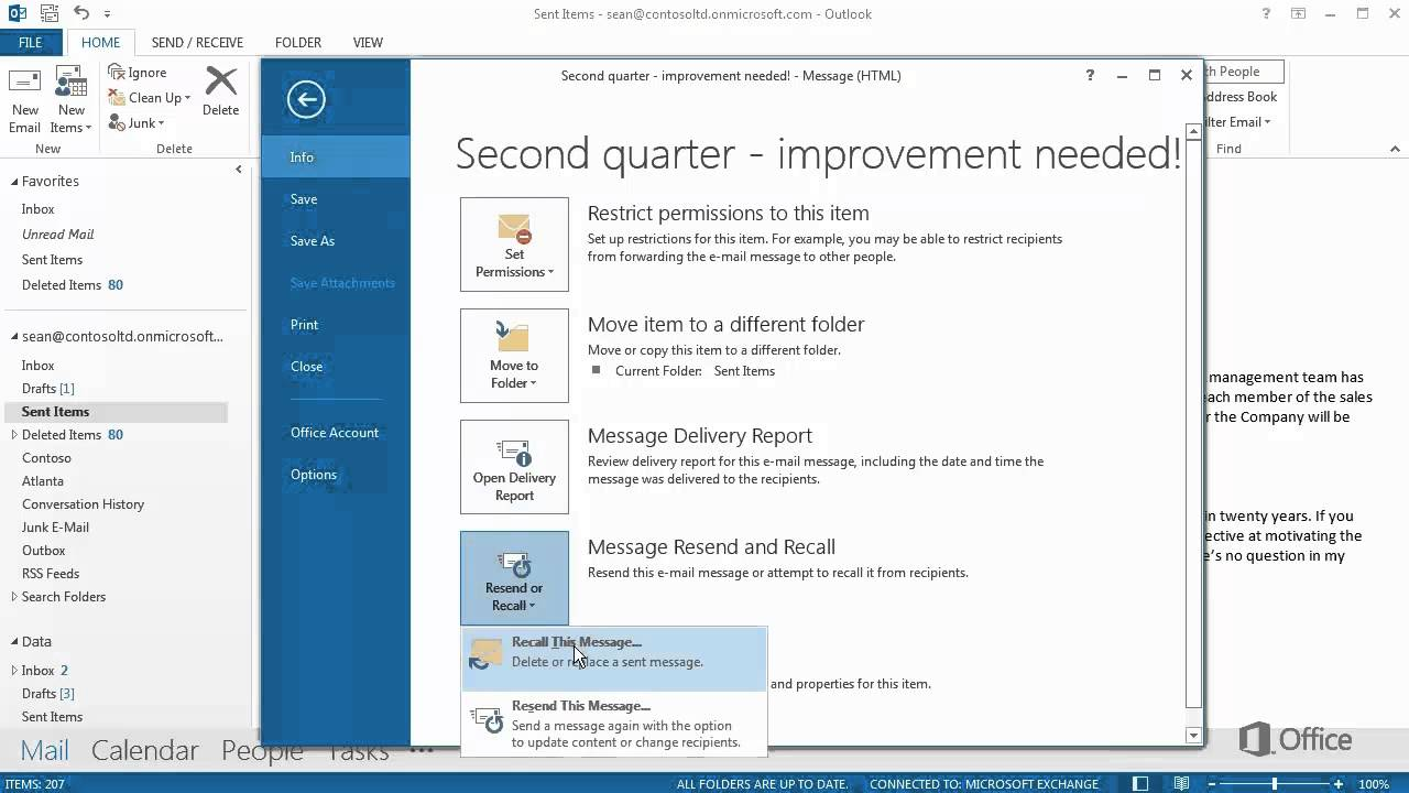 Outlook - Recall. Replace or Resend a Sent Message - YouTube