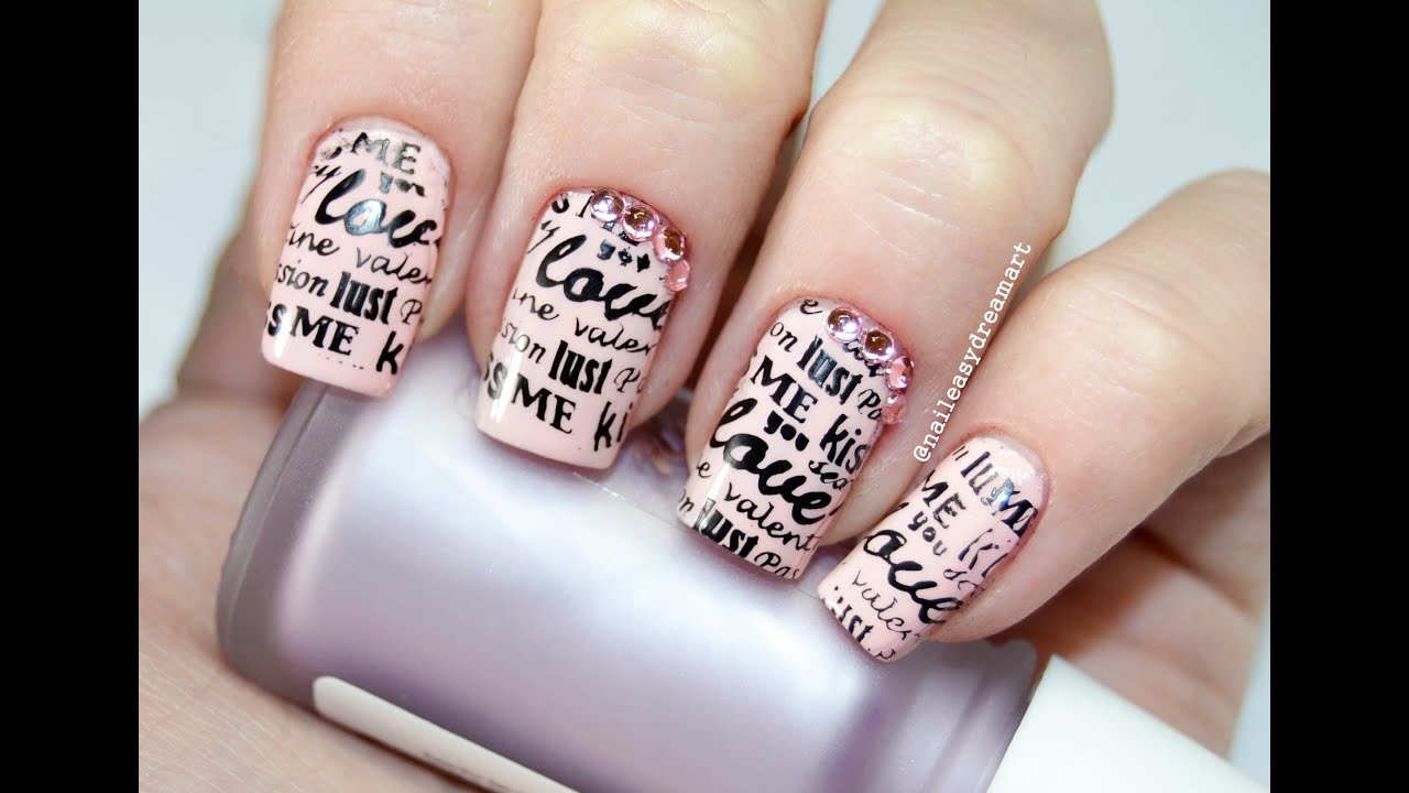 DIY Valentine\'s Nails | Love Note Nail Art | Дизайн ногтей на День ...