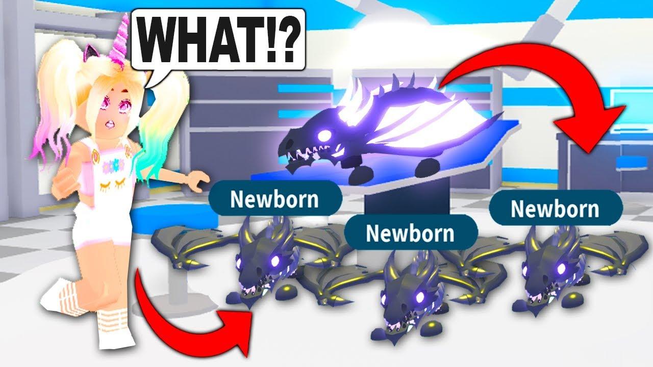 My Legendary Neon Shadow Dragon Had Triplets In Adopt Me Roblox
