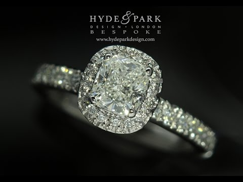 Halo Engagement Ring with Cushion Cut Diamond London Hatton