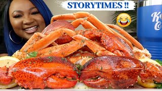 GIANT SNOW CRAB LEGS + LOBSTER CLAWS , SEAFOOD BOIL MUKBANG 먹방쇼 シーフード + STORYTIMES