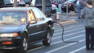 Left Gas Nozzle in Car (Prank)