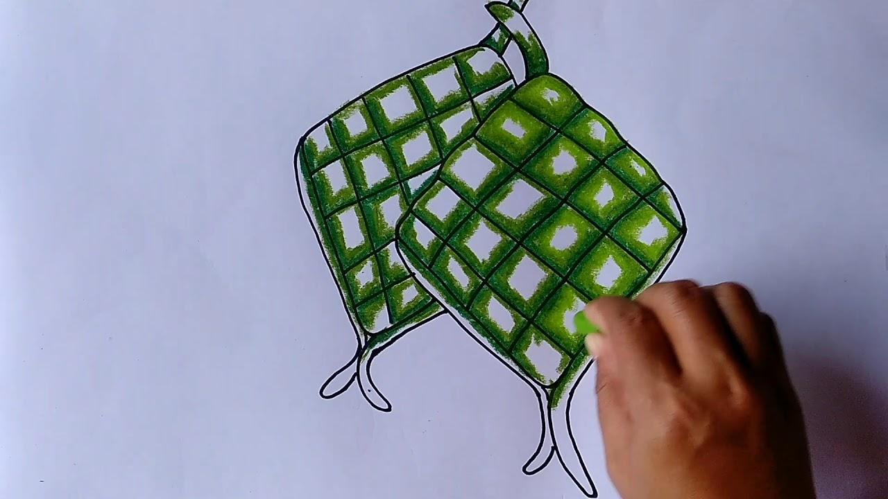 Menggambar Ketupat Lebaran Menggambar Dan Mewarnai Ketupat Yang Mudah