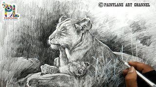 How to draw Female Lion and Cub Shading With Pencil | Easy Pencil Strokes