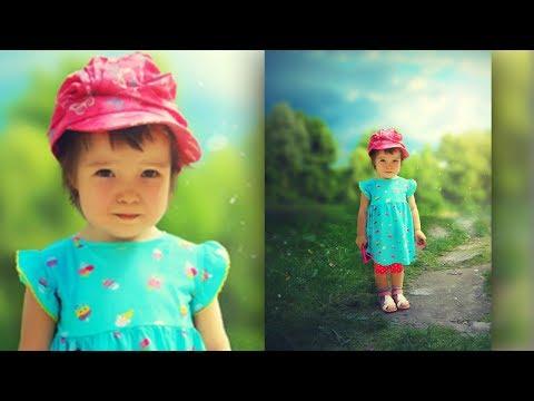 Летняя обработка детского фото в Фотошоп/ Открытка из любительского фото