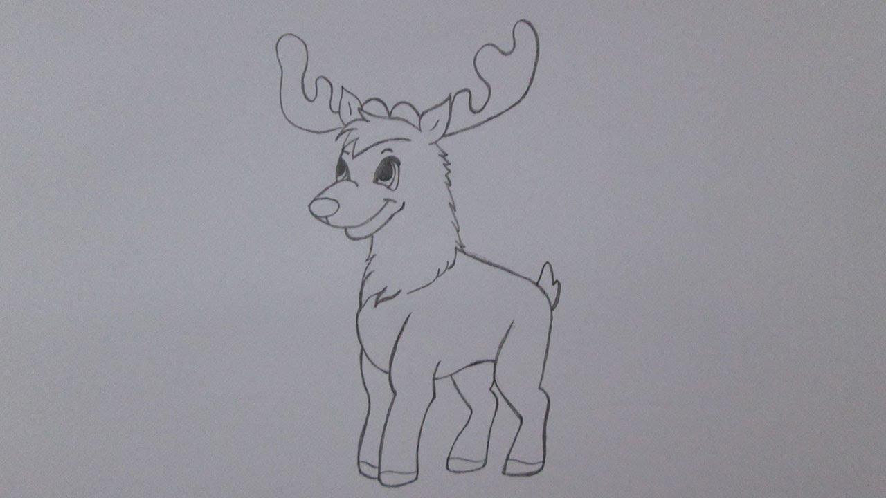 How to draw a christmas reindeer youtube - Renos para dibujar ...