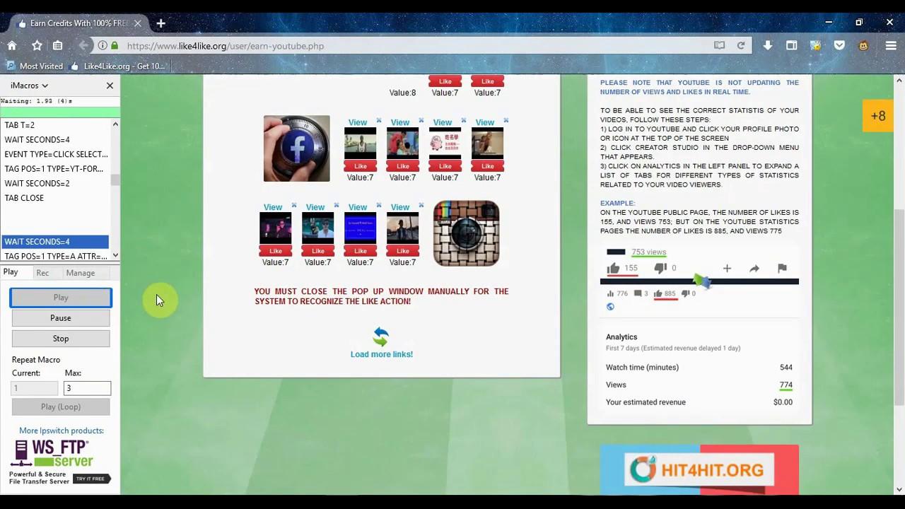 Like4Like Imacros script Bot + Antibot deleter For Free