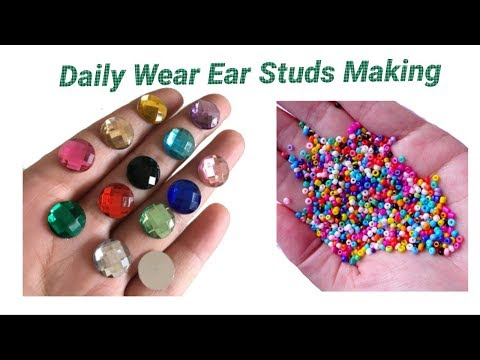 Daily wear ear studs making with Kundans