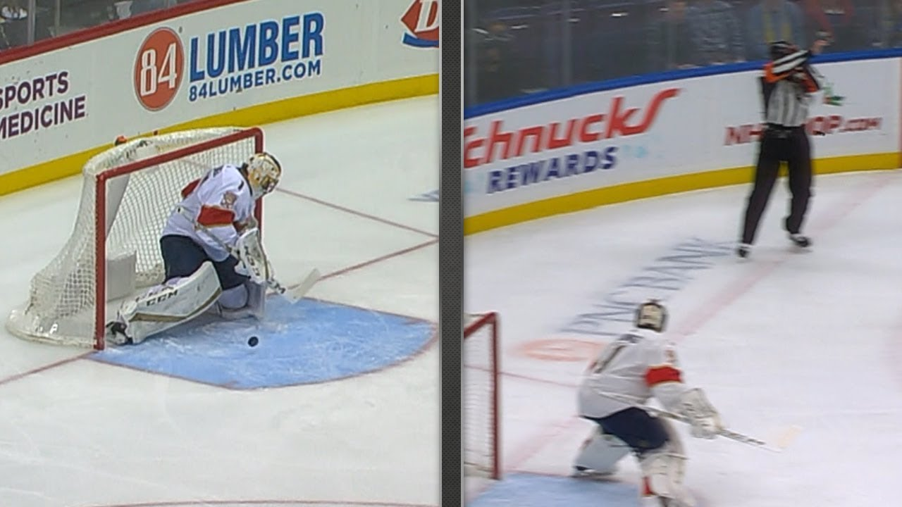 Roberto Luongo Stops Awkward Carom Off Referee This Time Youtube