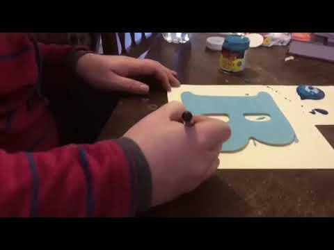 Painting wooden letter blanks