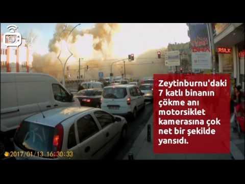 Zeytinburnu'da binanın çökme anı, motosiklet kamerasına yansıdı.