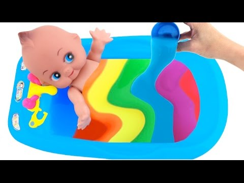 Thumbnail: Baby Doll Bath Time Play Doh Toy Surprise Slime Learn Colors Toys RL