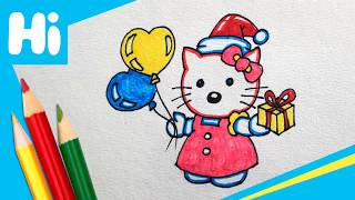 How To Draw Hello Kitty And Balloons For Kids