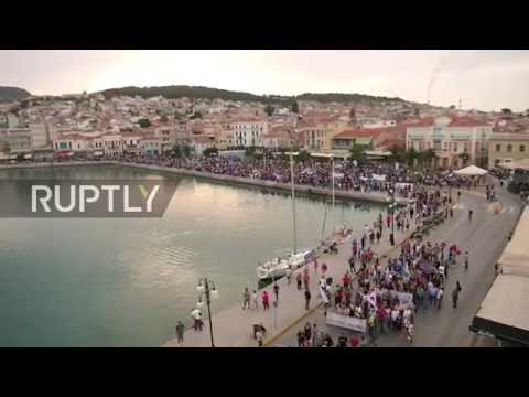 Greece: Hundreds protest against EU migration policy in Lesbos