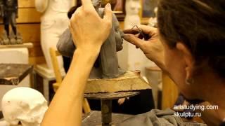 Пример лепки портрета - Обучение скульптуре. Портрет, 21 серия