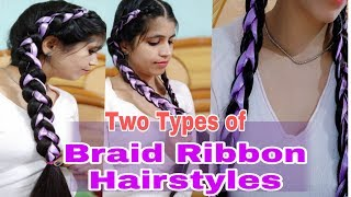 Easy Two Types of Braid Ribbon Hairstyles in hindi| Double Braid Ribbon hairstyle| NeshaFashion