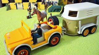 Джип с Прицепом-Коневозкой от Шляйх, игрушки Schleich, видео для детей, лошади, амуниция, конюшня