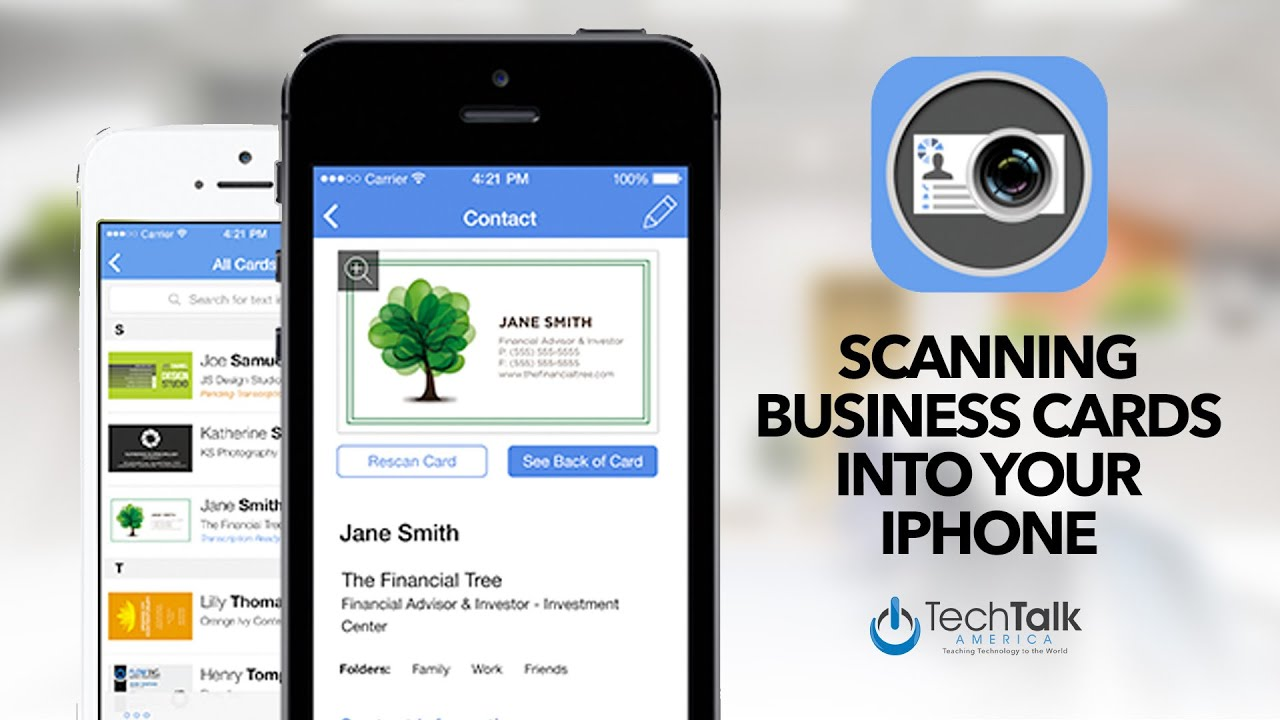 scanning business cards into your iphone youtube