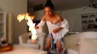 SHE ACCIDENTALLY SET IT ON FIRE!!