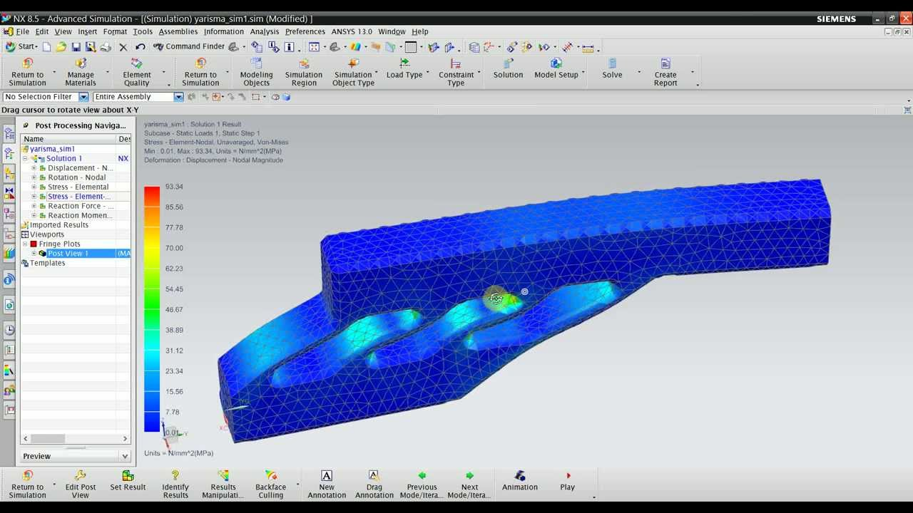 Nx Nastran Static Structural Analysis Youtube