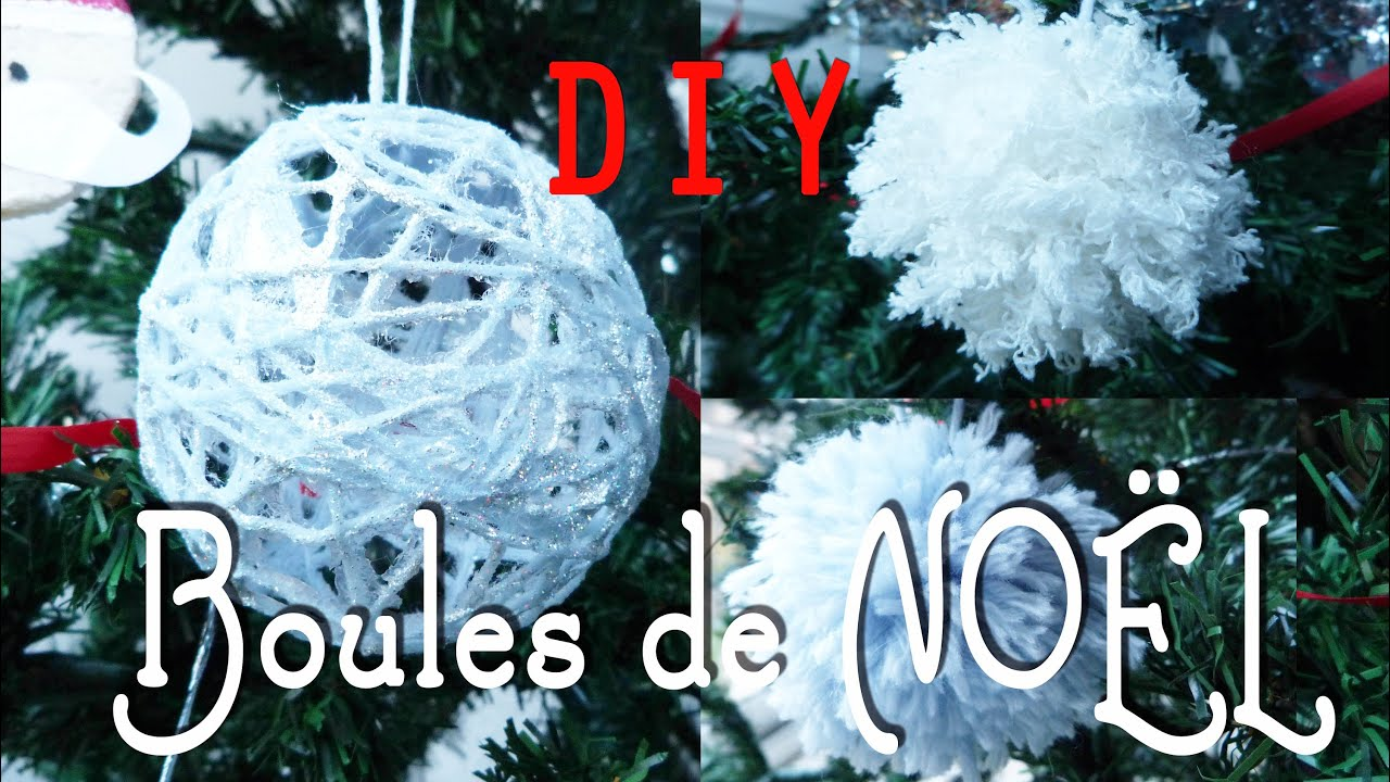 diy d coration de no l boules de no l et pompons de laine youtube. Black Bedroom Furniture Sets. Home Design Ideas