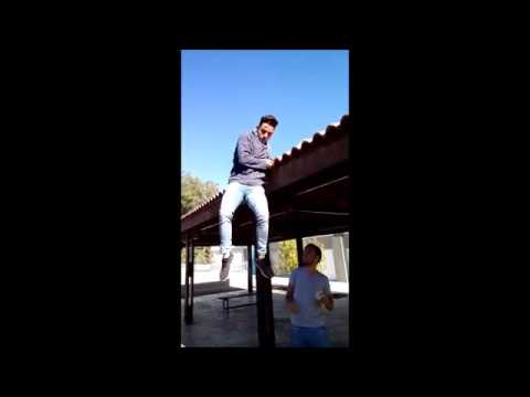 Dude falling from the roof